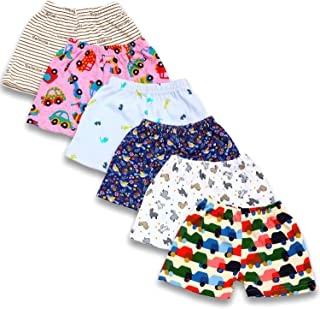 BAYBEE Baby Cotton Pyjama Shorts Bottom-Pack of 6 Assorted Colours&Cute Prints May Vary Sleep Boxer-Pyjama for Boys and Gi...