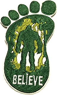 Bigfoot Lives - Believe - Embroidered Patch X-Files Type UFO Saucer Aliens Science Fiction Humor Comics Comedy Horror Cryptids Creatures Monster Iron-on Sew-on Emblem Badge Appliques Application