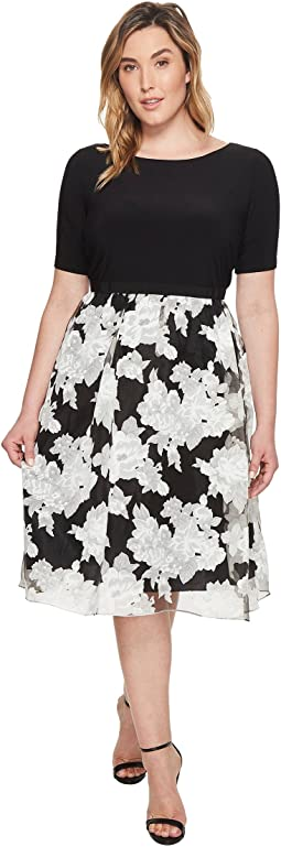 Adrianna Papell - Plus Size Savannah Crinkled Organza Print Fit and Flare Dress