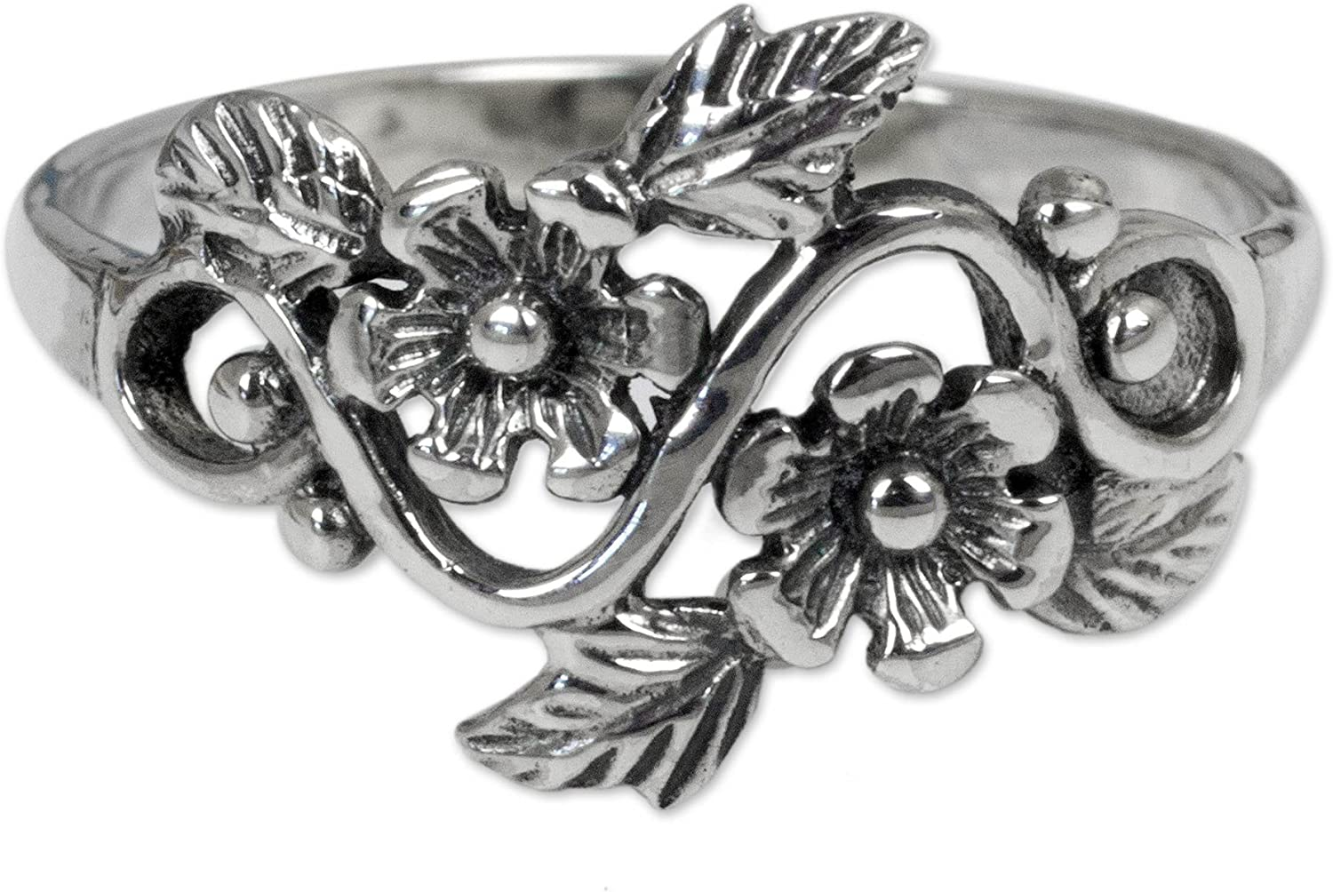 NOVICA .925 Sterling Silver Flower and Leaf Band Ring, Siam Bouq