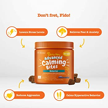 Zesty Paws Calming Bites for Dogs - Anxiety Composure Relief with Suntheanine - for Dog Stress & Separation Aid in Fi...