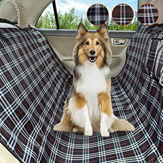 Coohom Dog Car Seat Covers,Waterproof Scratch Proof Nonslip Protector Pet Seat Covers,Scottish Grid Pattern Hammock Convertible for Cars Trucks and Suvs
