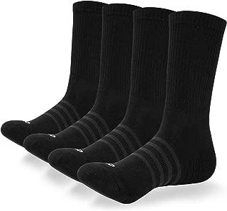 Men's Performance Cushion Crew Socks 4 Pack of Cotton Athletic Moisture Wicking Socks Running Sports Socks