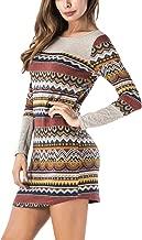 BLUETIME Women Striped Bodycon Dress Long Sleeve Pullover Knit Mini Sweater Dress