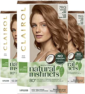 Clairol Natural Instincts Semi-Permanent, 7RG Dark Rose Gold Blonde, Rose Gold, 3 Count