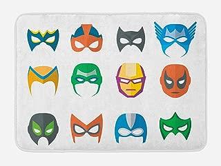 Lunarable Superhero Bath Mat, Hero Mask Female Male Costume Power Justice People Fashion Kids Display, Plush Bathroom Decor Mat with Non Slip Backing, 29.5