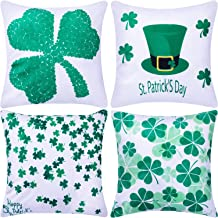 Jetec 4 Pieces Decorative Pillow Cover Pillow Case Sofa Back Throw Cushion Cover for Easter Day, St. Patrick's Day, Thanksgiving Day Home Decoration, 18 by 18 Inches (Color Set 11)