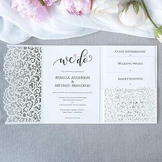 Apribile taglio laser inviti matrimonio fai da te partecipazioni matrimonio colore avorio carta con busta- campione presta...