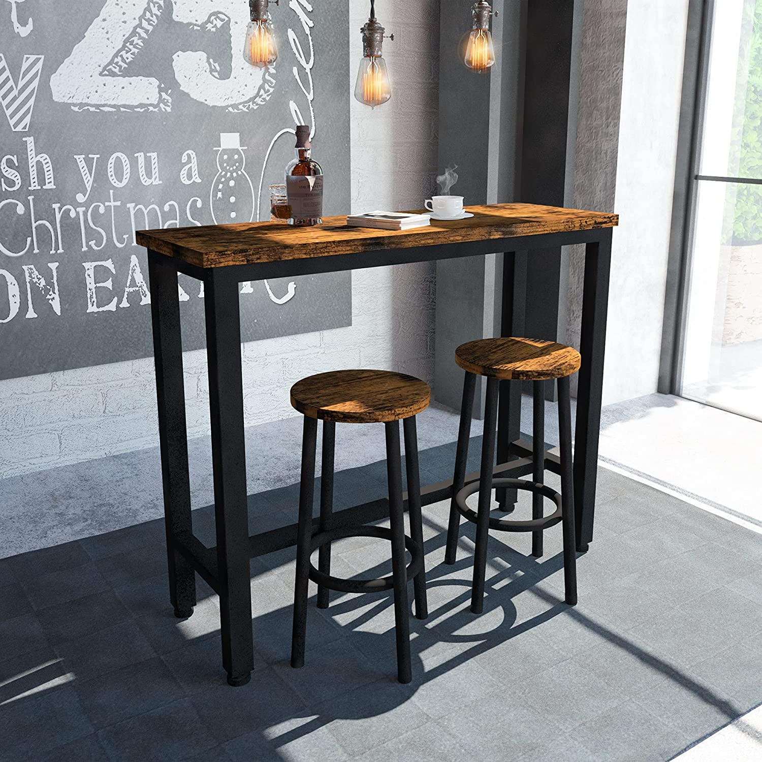 HOOSENG Bar Table Set 9PCS Round Kitchen Counter DiningTable with 9 Stools,  for Home Farmhouse Restaurant Cafe Kitchen Dining, Artificial Wood Top & ...