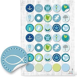 Logbuch-Verlag 70 autocollants ronds avec des motifs maritimes en couleur bleu et vert - décoration de fête, baptême, comm...