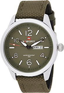 Naviforce Men's Green Dial PU Leather Analogue Classic Watch - NF9101-SWGN