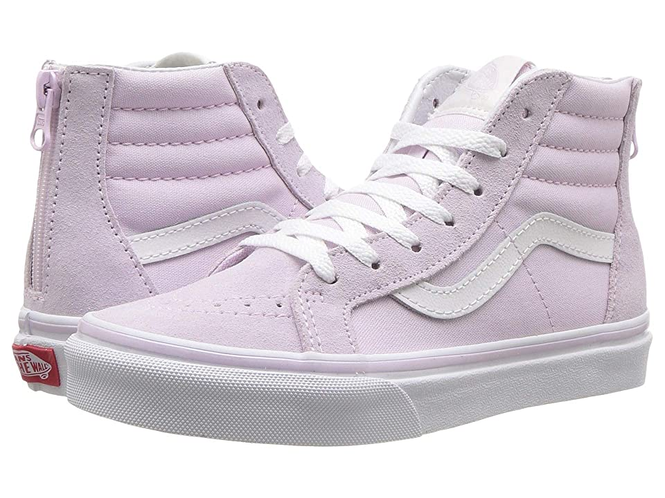 Vans Kids Sk8-Hi Zip (Little Kid/Big Kid) (Lavender Fog/True White) Girls Shoes