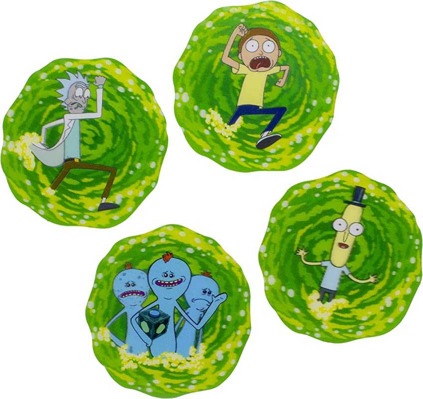Rick And Morty 3D Drink Coasters Set Of 4