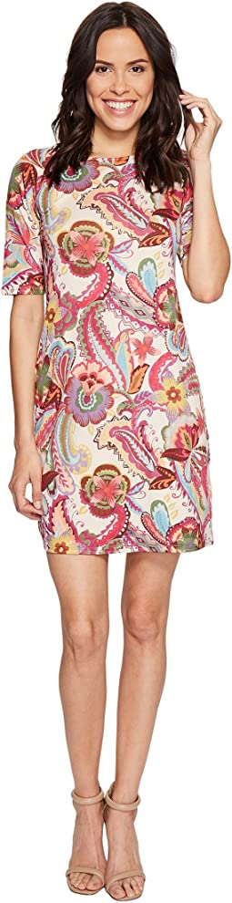 Paisley Printed Elbow Sleeve Dress