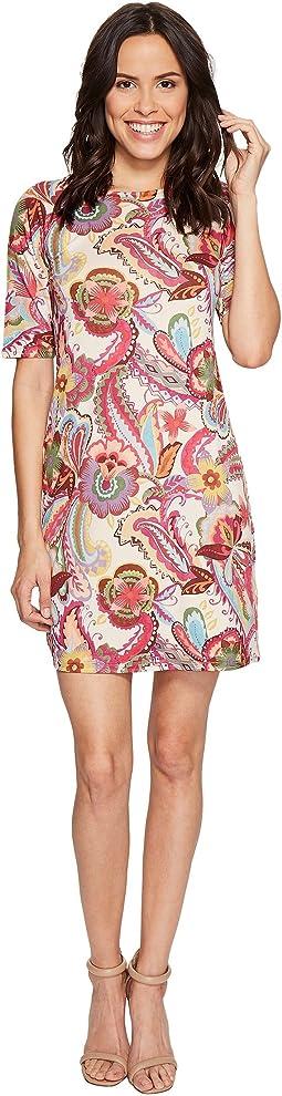 Paisley Printed Elbow Sleeve Dress