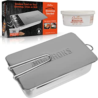 """Stovetop Smoker - Gourmet Mini (7"""" x 11"""" x 3.5"""") Stainless Steel Smoking Box with Wood Chip Sample - Works Over Any Heat S..."""