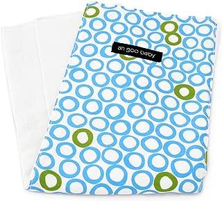 "Ah Goo Baby Burp Cloth 100% Cotton, Unisex, 14""x18"", White Blue Circles Pattern"