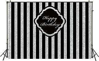 FiVan 180 x 152 cm wasserdichter Fotohintergrund für Erwachsene und Kinder, Geburtstagsparty, Banner mit schwarzen und silberfarbenen Streifen, Glitzer, glamourös, für Fotostudioautomaten, W 450
