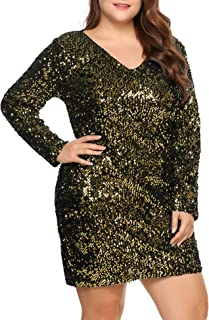 Womens Sequin Dress Plus Size V Neck Party Cocktail Sparkle Glitter Evening Stretchy Mini Bodycon Dresses