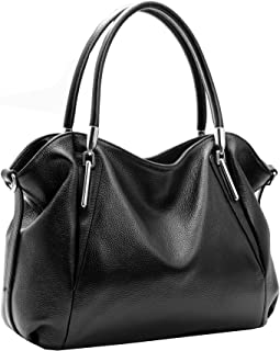 Heshe Leather Shoulder Handbags Vintage Work Tote Cross Body Bags for Womens and Ladies (Black)