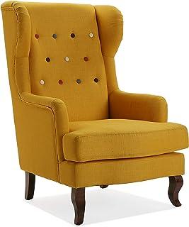 comprar comparacion Versa 19501405 Sillón orejero tapizado, Butaca Botones Amarillo, Mostaza, 103 x 62 x 68 cm