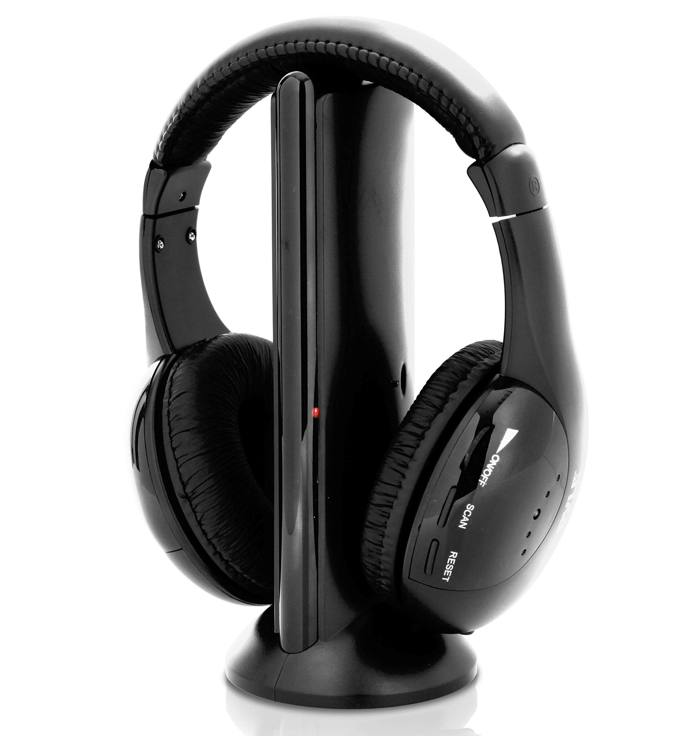 ASTROSOAR - Stereo Wireless Over Ear Headphones - Hi-fi Headphone Professional Black Monitor Headset with 30m Range, Noise Isolation Padding, Microphone - TV, Computer, Gaming Console iPod Phone - Pyle Home PHPW5