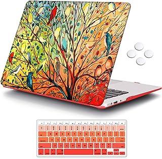 حافظة iCasso MacBook Air 13 بوصة (الإصدار القديم 2010-2017)، حافظة واقية صلبة بنمط بلاستيكي وغطاء لوحة مفاتيح متوافق فقط م...