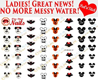 Mickey and Minnie Halloween V1. Set of 57 clear vinyl Peel and Stick (NOT Waterslide) nail art decals/stickers by One Stop Nails.