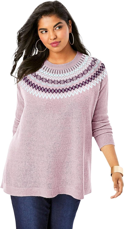 Roamans Women's Plus Size Fair Isle Pullover Sweater