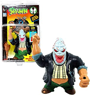 Todd McFarlane's Toys Year 1994 Spawn Series Poseable 5 Inch Tall Action Figure - CLOWN with Head Changeable to Violator Monster Head, Turkey Leg Club and Special Edition Comic Book