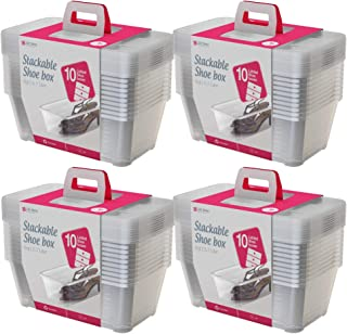 Life Story 5.7-Liter Clear Shoe & Closet Storage Box Container (40 Pack)