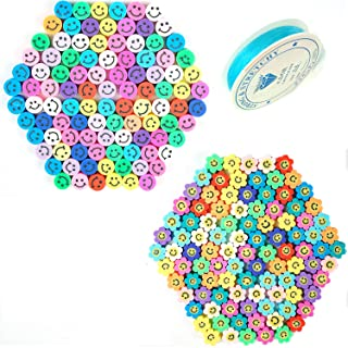 200 Pcs Sun Flower Smiley Face Beads,Round Shape Happy Face Spacer Beads,for DIY Jewelry Bracelet Earring Necklace Craft M...