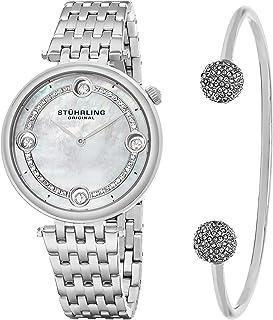 ساعة ستيرلينج اصلية للنساء بمينا فضي وسوار من الستانلس ستيل ومجموعة سوار - SET_716.01_B2S