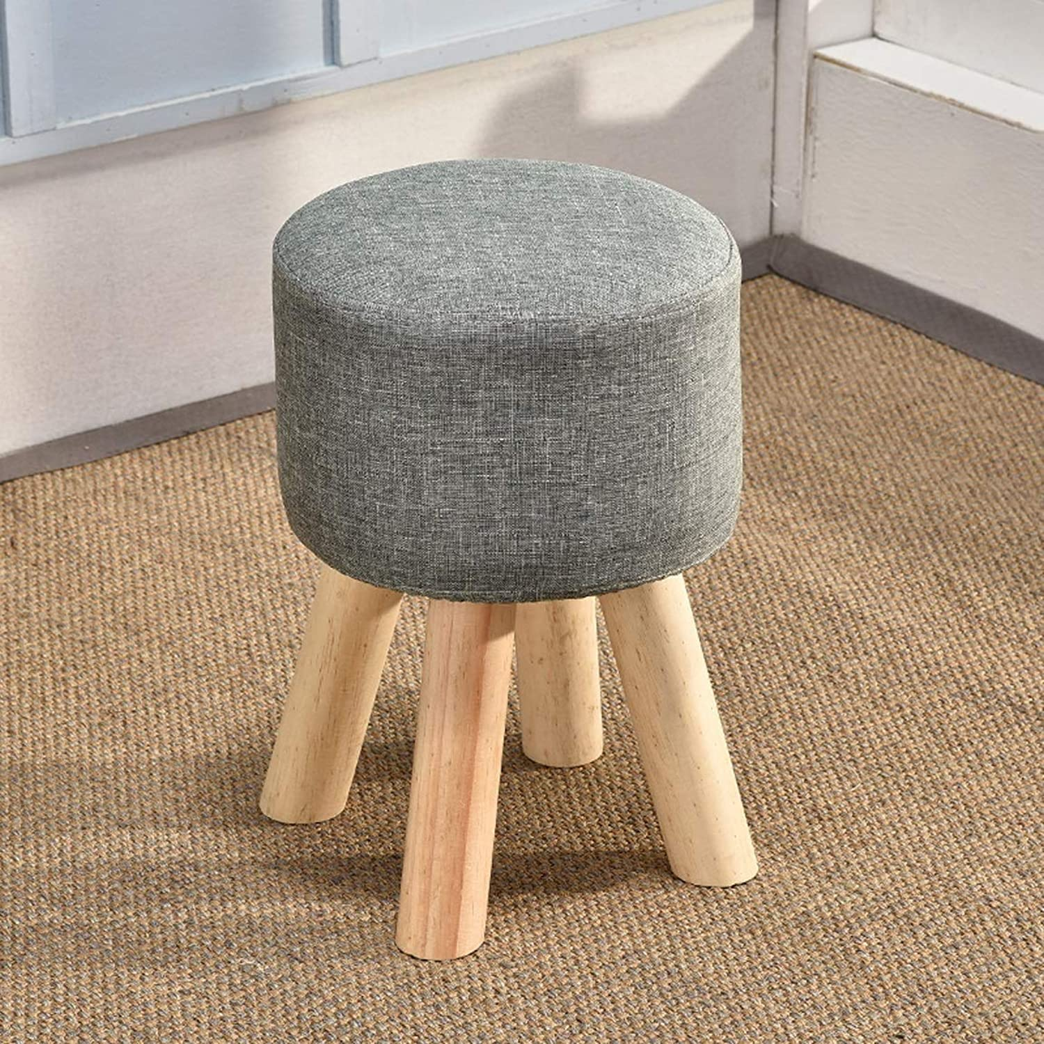 HZB Small Wooden Stools, Living Room, shoes Stools, Fashionable Adult Stools, Sofa Stools, Stools Stools (color   Grey Green)