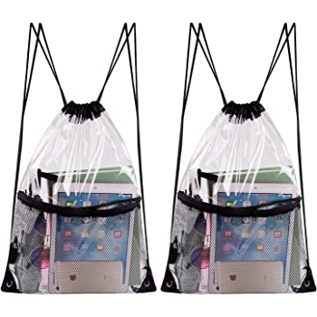 Travel KUUQA 3 Pack Clear Drawstring Backpack Bags Waterproof PVC Clear Cinch Stadium Bags Bulk with Zipper Mesh Pocket for School,Sports