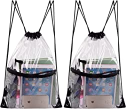 KUUQA 2 Pack Clear Drawstring Backpack Bags Waterproof PVC Clear Cinch Stadium Bags Bulk with Zipper Mesh Pocket for School,Sports, Travel