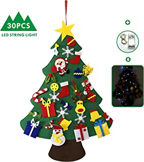 CCGGAD FeltChristmasTree,3.28ft KidsChristmasTree with 30 pcs Ornaments and 20 Led Lights(6.6ft) for Kids Xmas Gifts Door Wall Decoration