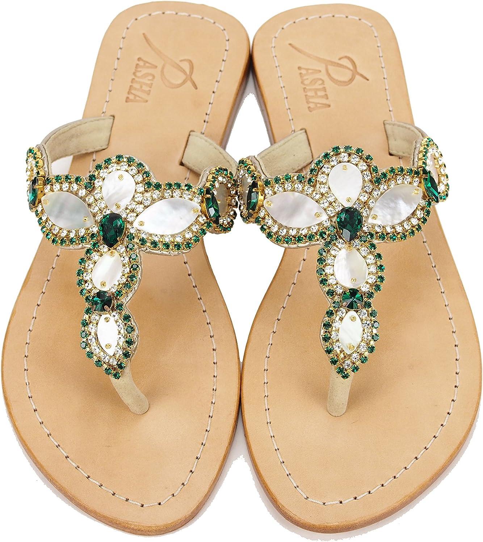 PASHA Gorgeous Jeweled Genuine Leather shoes, Style Sumatra Emerald
