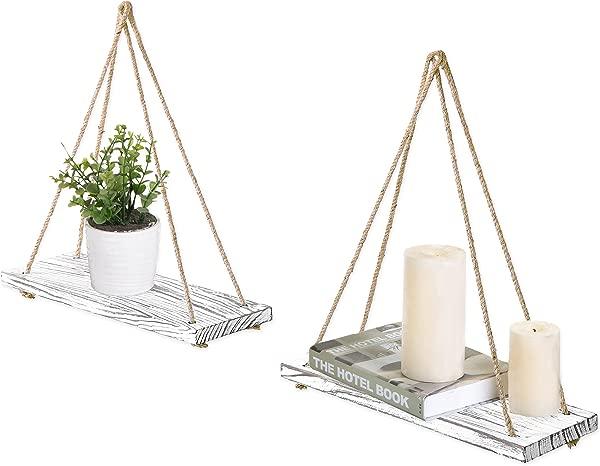 MyGift 17 Inch Whitewashed Wood Hanging Rope Swing Shelves Set Of 2