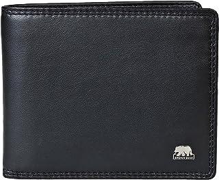 Brown Bear Geldbörse Herren Leder Schwarz RFID-Schutz, Echtleder Männer-Portemonnaie im Querformat mit Doppelnaht, Busines...