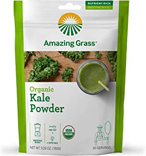 Amazing Grass Organic Kale Greens Powder: Smoothie Booster with Super Greens & Vitamin K, 30 servings