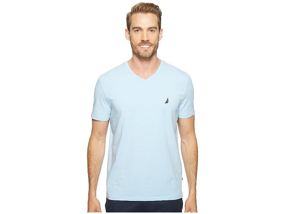 Nautica Slim Fit V-Neck T-Shirt (Noon Blue) Men