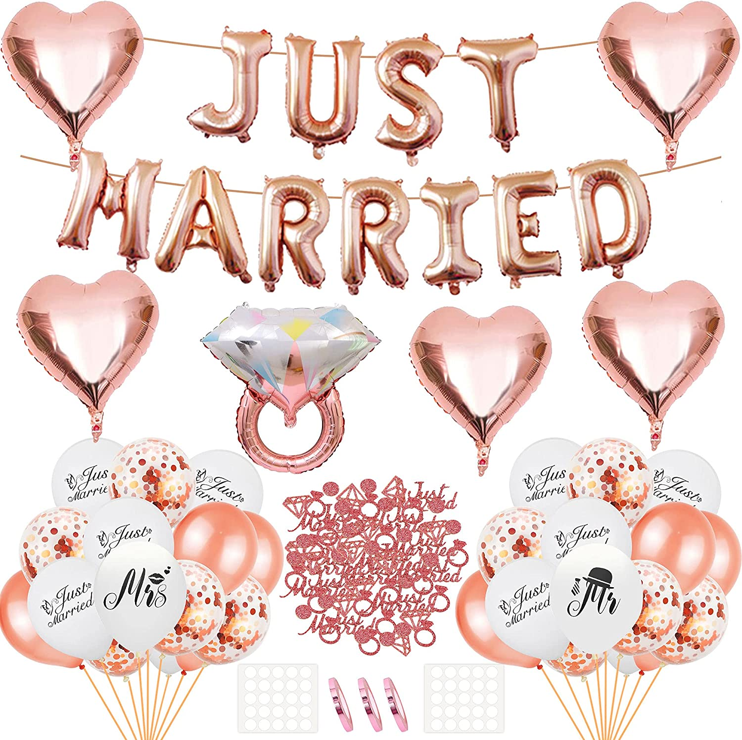 Just Married Wedding Decorations Garland Banner with Aluminum foil balloons, Latex Balloons, Party Sequins Sprinkles Confetti for Weddings, Engagement, Anniversary Party, Bridal Showers