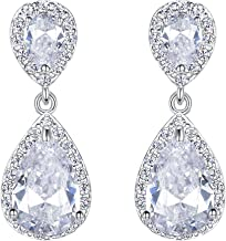 EVER FAITH Wedding Teardrop Earrings Clear Full Cubic Zirconia Silver-Tone