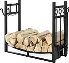 Best Choice Products 43.5in Steel Firewood Log Storage Rack Accessory for Fire Pit, Fireplace w/Kindling Holder