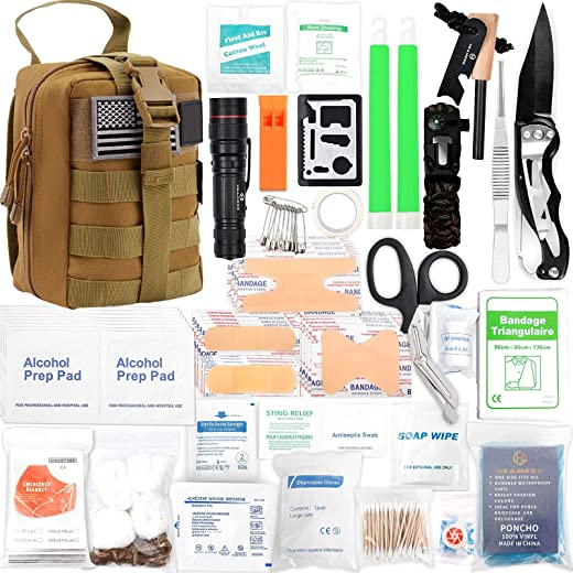 H HEAMESS Survival Kit 268 Pcs Survival Gear Emergency Kit Trauma Bag MOLLE System All-Purpose Portable Compact First Aid Kits for Cuts, Scrapes, Sprains & Burns, for Home, Travel and Hiking