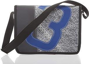 727Sailbags HARRY, Umhängetasche Laptoptasche Messenger-Bag aus recyceltem Techniksegel,Grau, 15 Zoll, Zahl 3 Blau