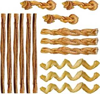 Pawstruck Mini Bully Sticks for Small Dogs & Puppies - Natural Bulk Dental Treats for Toy Breeds, Miniature Beef Best Low Odor Pizzle Stix Chew in Springs, Braids, Barbells