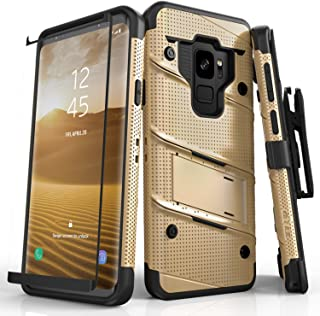 ZIZO Bolt Series Samsung Galaxy S9 Case Military Grade Drop Tested with Tempered Glass Screen Protector Holster Gold Black