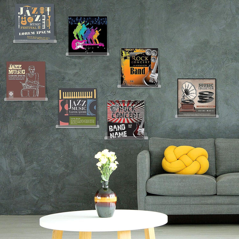 Kein Loch Design 8 St/ücke Vinyl Schallplatte Regal Wand Schallplatte Rahmen Display Regal Acryl Wandregal mit 2 Bl/ättern Klarem Doppelseitigem Klebeband f/ür Schallplatten Sammlung Klar